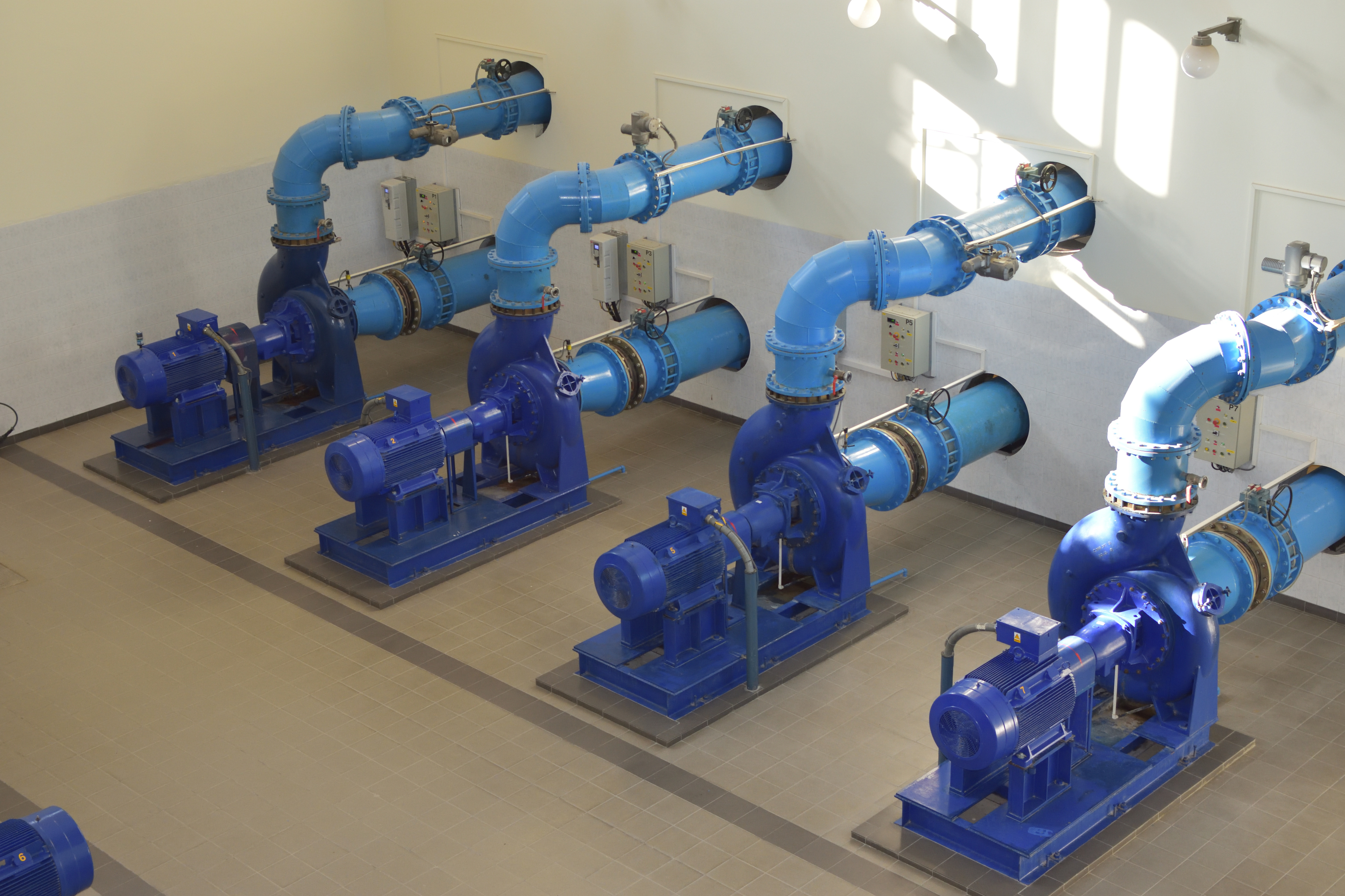 Figure 1: Pumps attached to pipes.