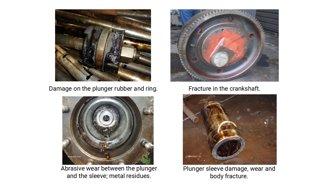 Figure 5: Example of some failures in reciprocating plunger pumps.