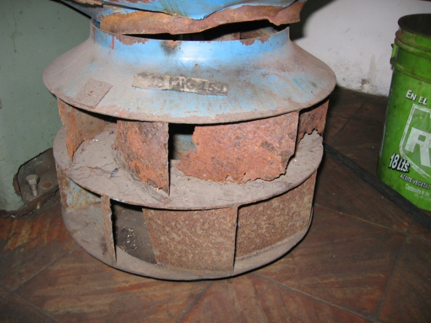 Figure 6: Centrifugal fan impeller with a high level of corrosion and material loss. Photo by courtesy of Academia de Confiabilidad.
